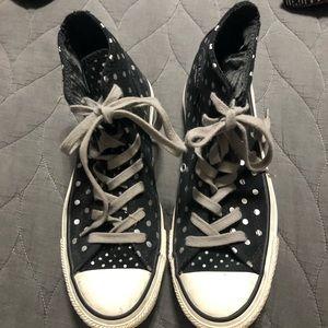 Converse women's 7 black suede silver polka dots